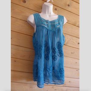 Language Blue Crochet Geo Boho Peasant Tank Tunic